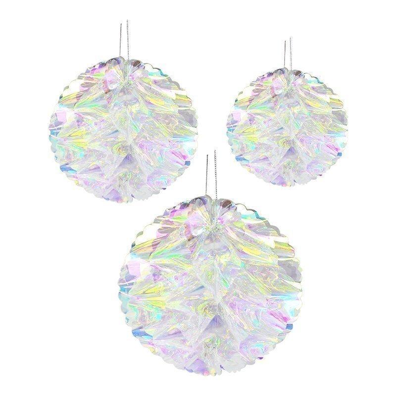 iridescent honeycomb flower ball ornament